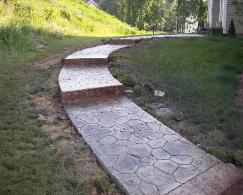 multiple color random stone concrete walk