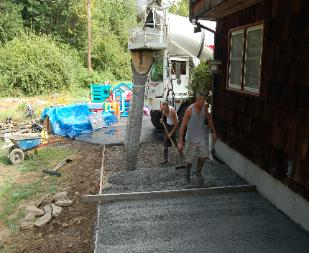 pouring concrete in CT