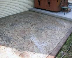 stamped concrete random stone patio